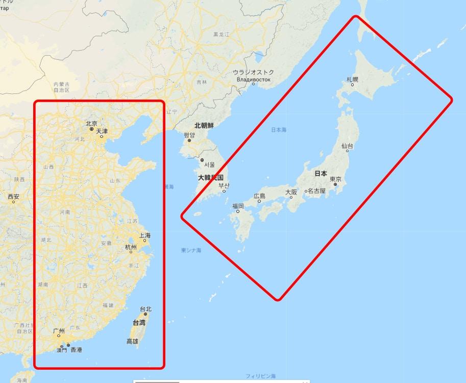 中国 日本 広さ 比較